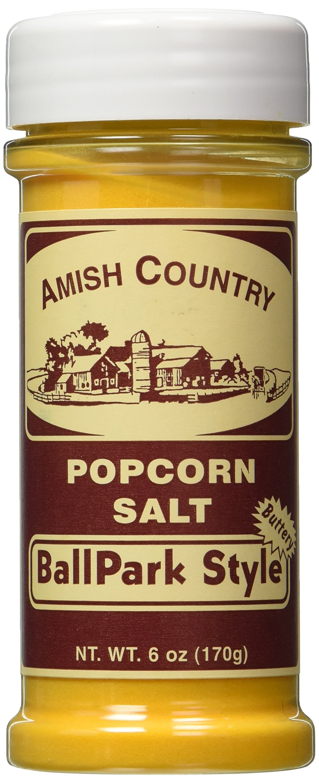 Amish Country Popcorn - Old Fashioned Ball Park Butter Salt 6 oz - with Recipe Guide