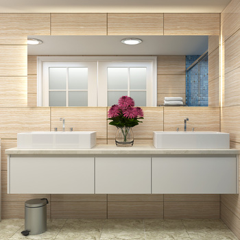 High End Double Sink Long Countertop Bathroom Cabinets