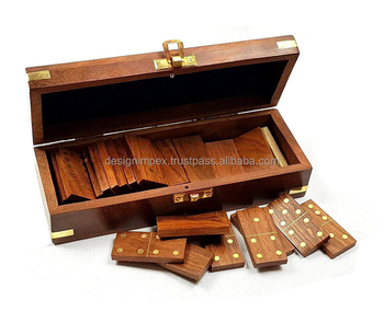 Dominoes Set Wooden Vintage Box Game Travel Domino Traditional 28 pc Urban Home