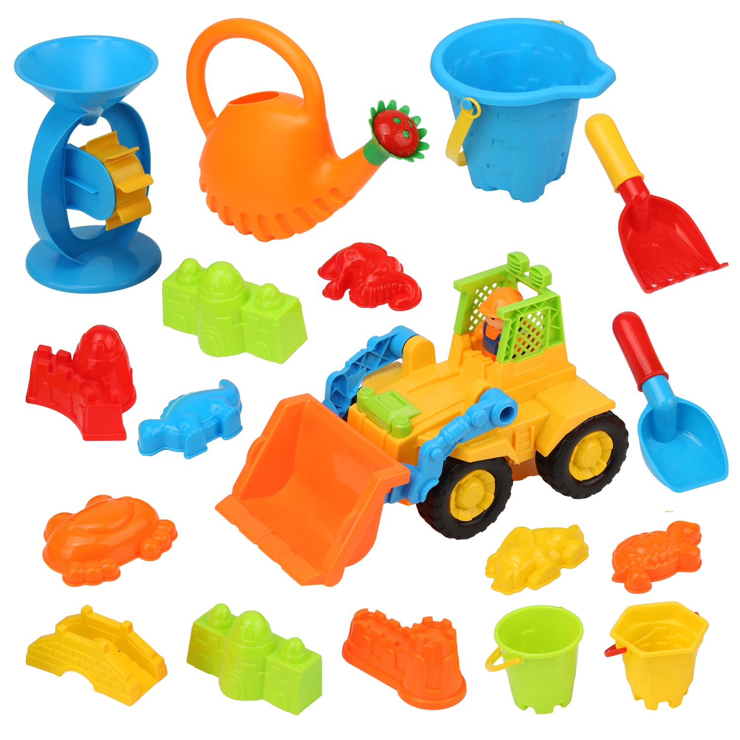 QuadPro Beach Sand Toy Set for Kids 17 Piece Inclued Sand Wheel, Toy Cars, Sand Molds,sand castle building kit, Bucket, Shovel And Rake Tools, Toddlers Outdoor Sandbox Toys for Boys and Girls