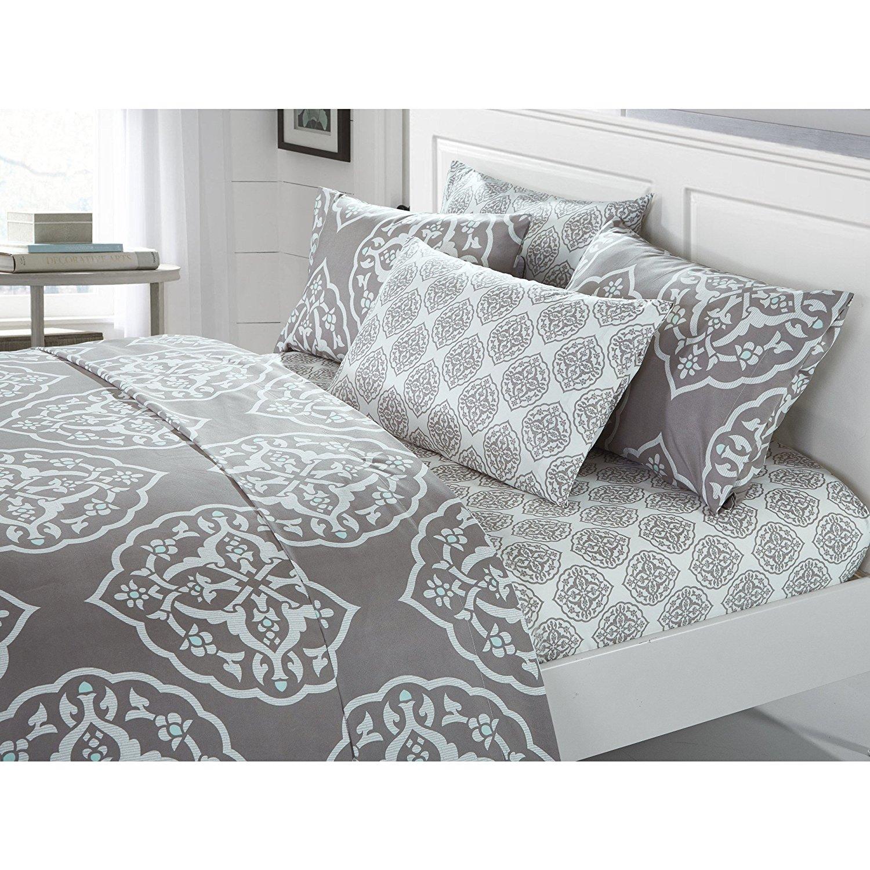 6 Piece Silver Grey Medallion Sheet Queen Set, Light Gray Graphic Geometric Moroccan Mandala Pattern, Bohemian Themed Casual Contemporary Damask Deep Pocket Adult Bedding Master Bedroom, Microfiber