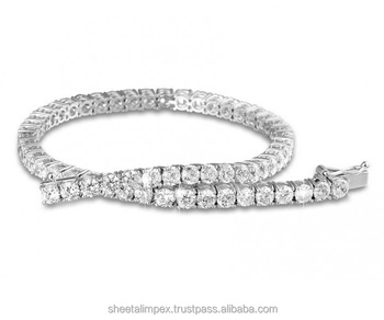 Sheetal Impex 3.00 Tcw I Clarity FG Color Round Shape Real Natural Diamonds Studded 18 Kt White Gold Tennis Bracelet
