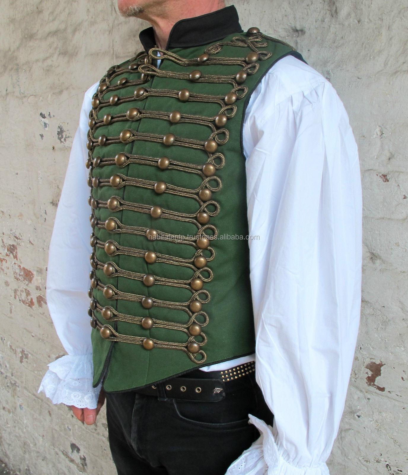 Green Black Military Waistcoat Braid Parade Tunic Guard Coat Costume Wedding