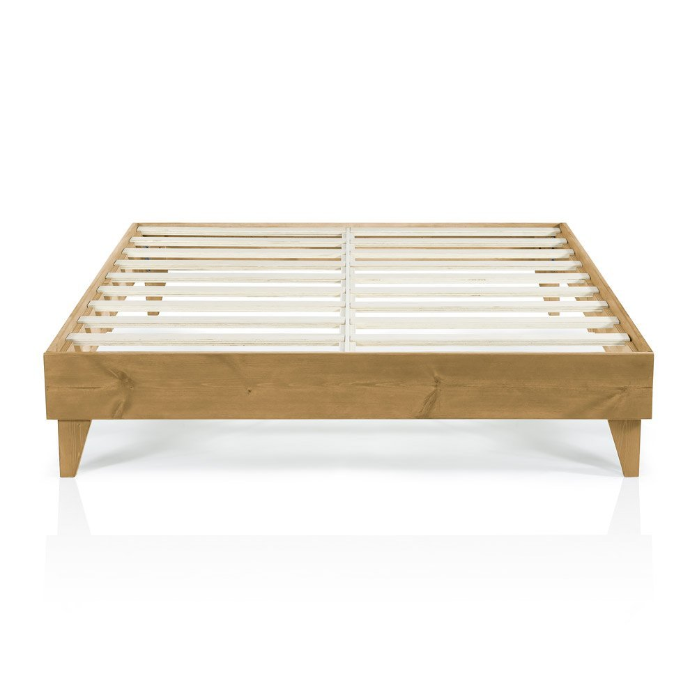 Wood Platform Bed Frame | California King Size | Cal King | Modern Wooden Design | Solid Wood | Made in U.S. | Easy Assembly | Almond / Oak
