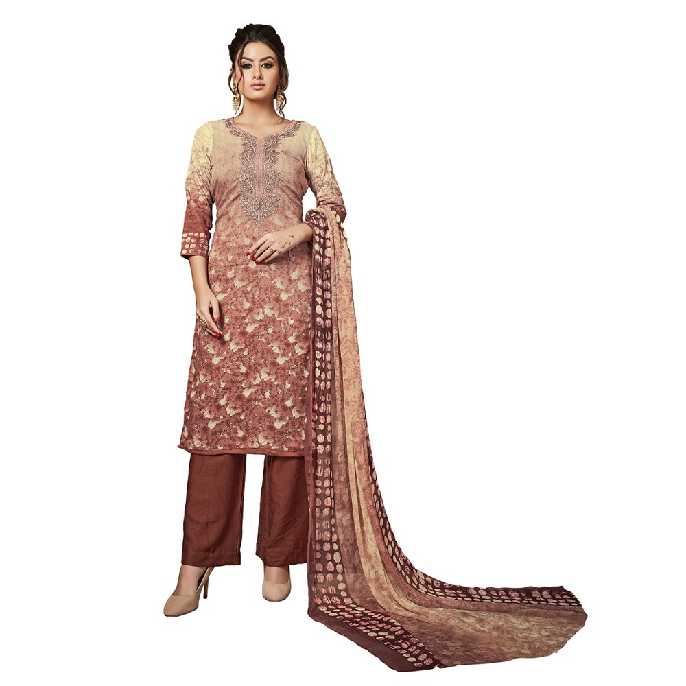 5a2b402f65 Coffee Color Rayon Modal Fabric With Heavy Embroidery and Digital Print  Work Salwar Suit Dress Material