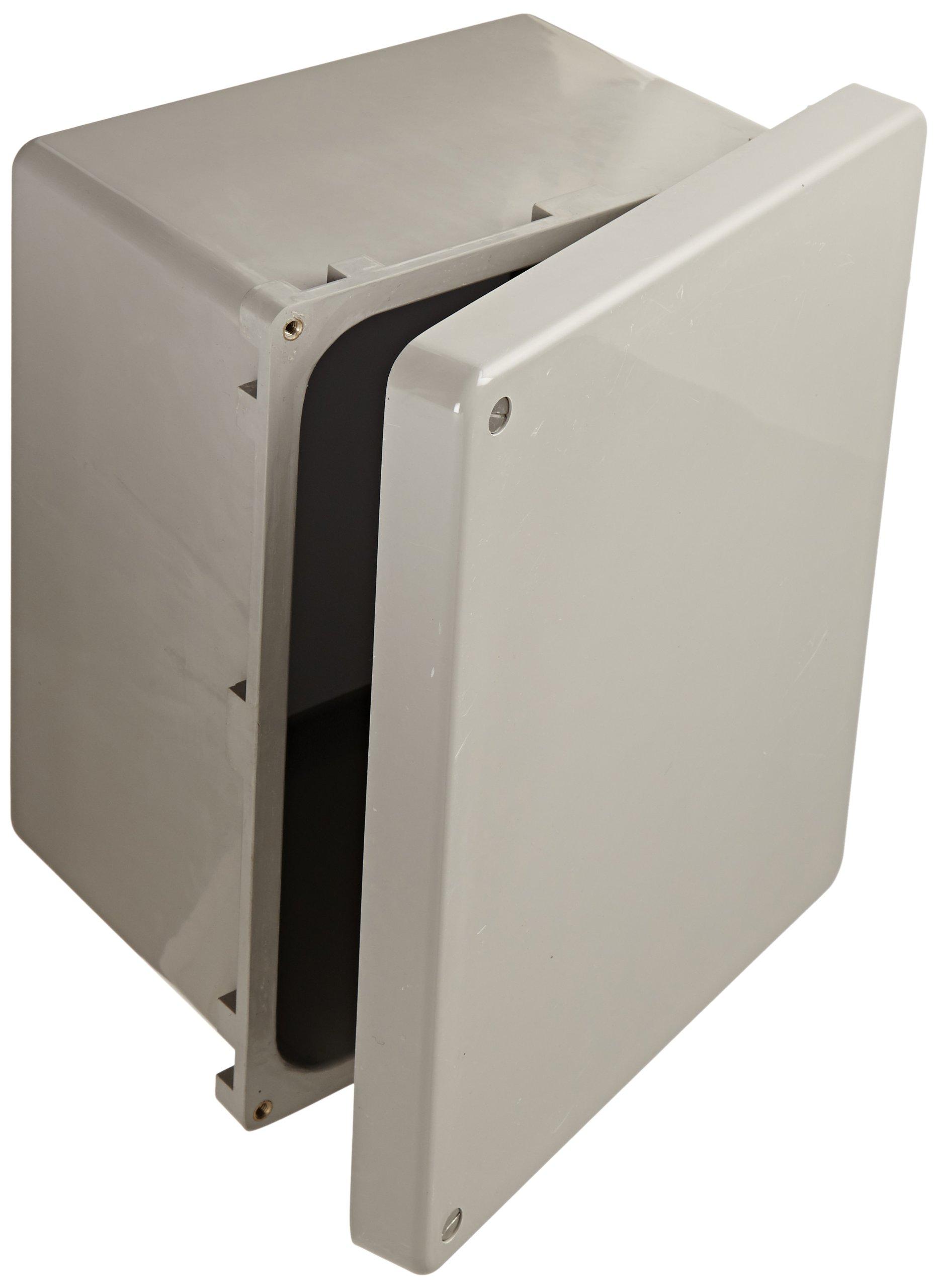 "BUD Industries NF-6612 Fiberglass NEMA Box with Screwed Cover, 9-57/64"" Width x 11-49/64"" Height x 6-51/64"" Depth, Light Gray Finish"