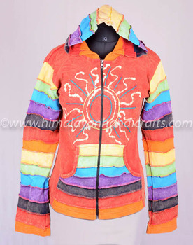 FASHIONABLE MULTICOLOR STOMEWASH BOHEMIAN LADIES HOODIEE CSWJ 388