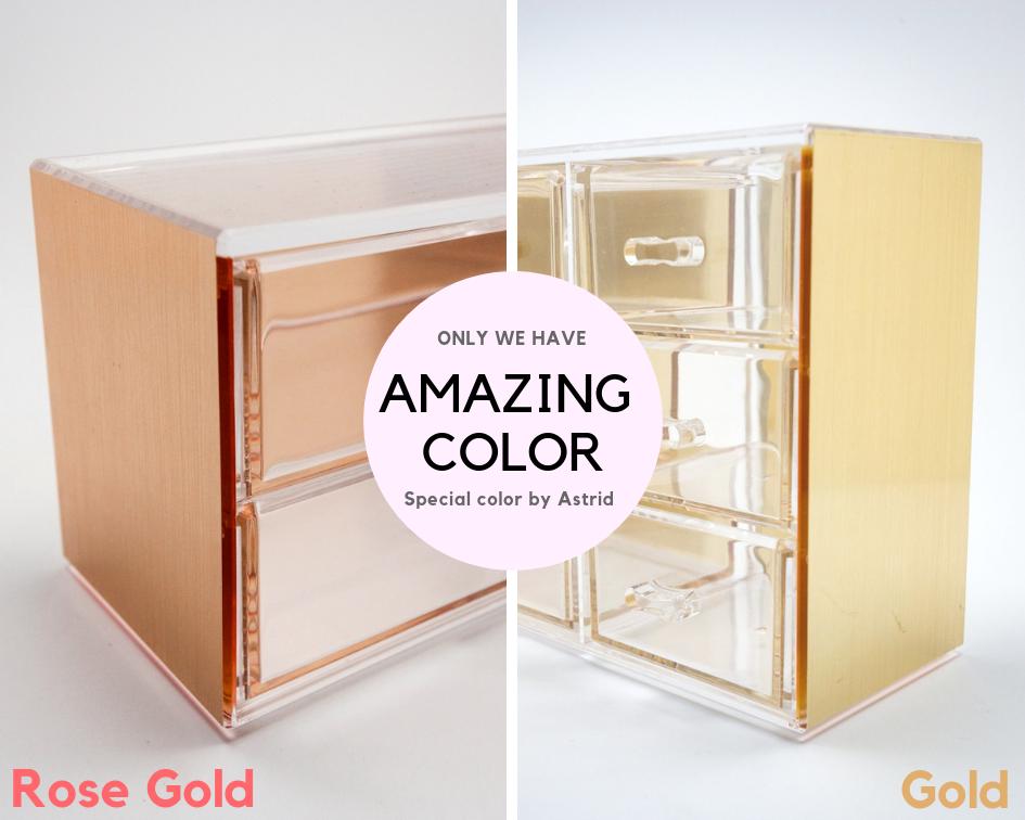 Oro rosa 6 capas de algodón organizador caja de cosméticos