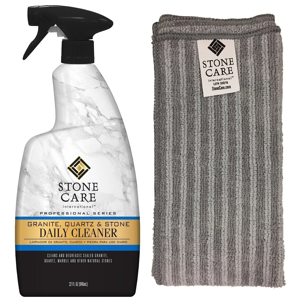 Granite Cleaning Kit - Stone Care International Granite, Quartz & Stone Daily Cleaner, 32 fl oz, and Microfiber Cloth for Granite & Stone