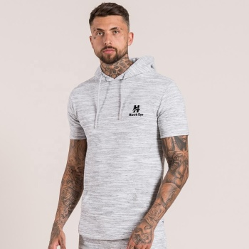Grey color slub design short sleeve men hoodie Manufacturer by Hawk Eye Co. ( PayPal Verified )