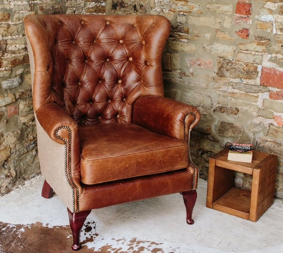 Phenomenal Vintage Leather Tweed Chesterfield Armchair Vintage Leather Arm Chair Buy Vintage Leather Wing Back Chair Leather Arm Chair Genuine Leather Arm Short Links Chair Design For Home Short Linksinfo