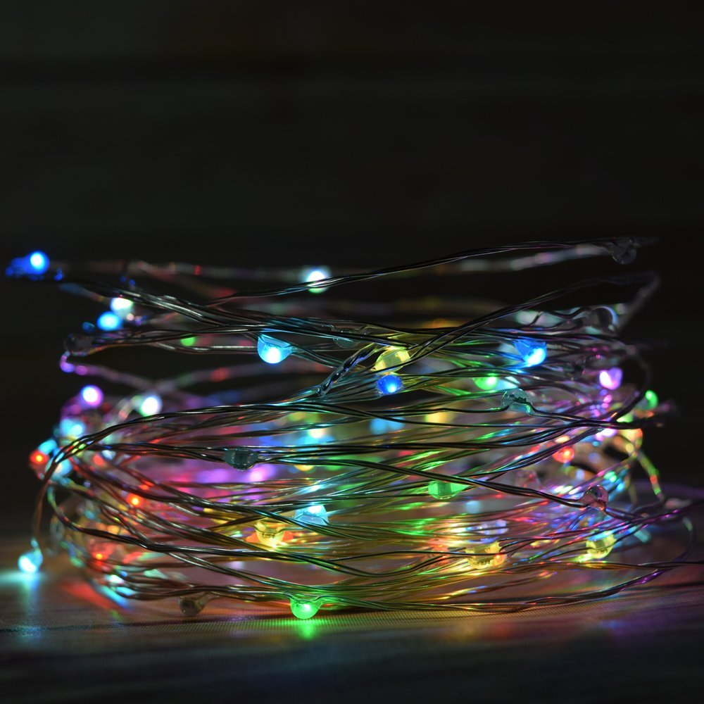 Fantado 100 RGB Multi-Color Changing LED Micro Fairy String Light, Waterproof Wire (33ft, AC Plug-in) by PaperLanternStore