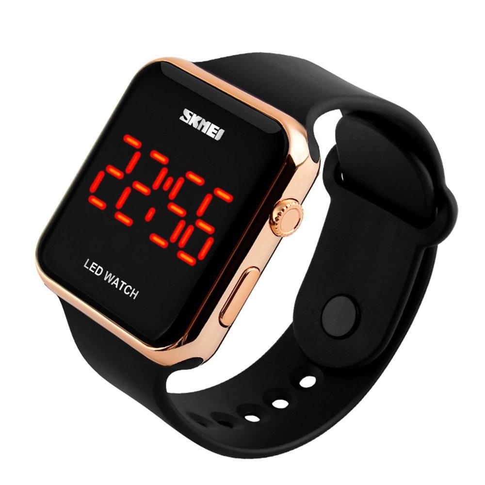 Unisex Men Women Fashion Sport Casual Simple Design Square Dial Rubber Band Digital LED Wrist Watch Gold