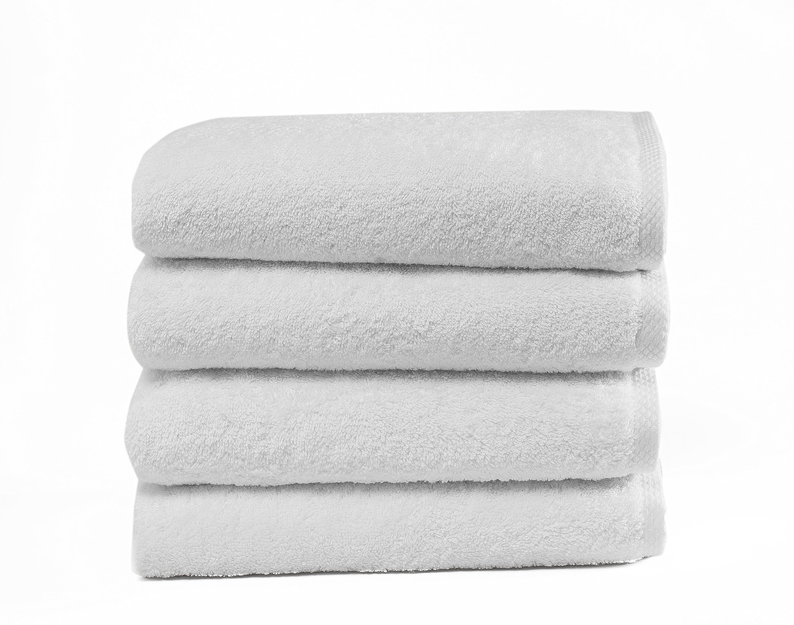 Salbakos Classic Turkish Cotton 4 Piece White Bath Towel Set - Thick and Soft Terry Cloth Hotel and Spa Quality Bath Towels Made with 100% Turkish Cotton 24 x 48 Inch