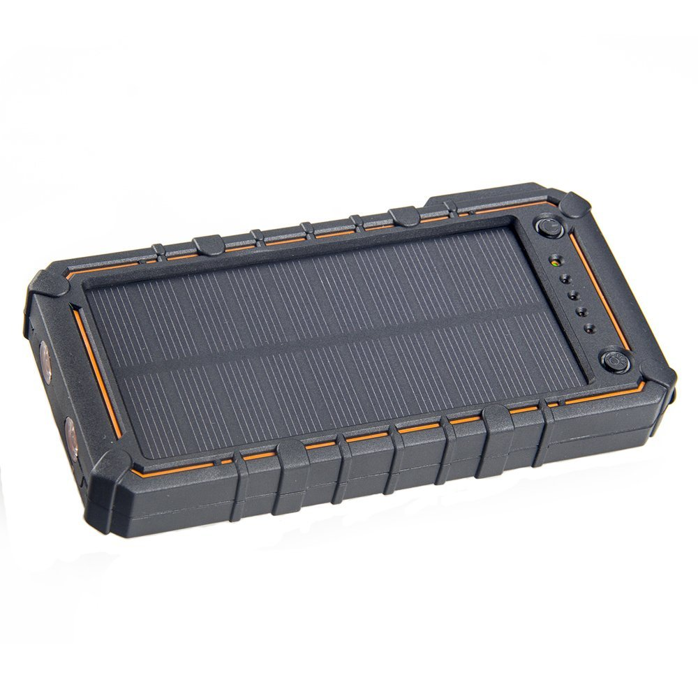 Solar Charger 13500mAh Outdoor Portable Solar Power Bank Waterproof Shockproof Dustproof Dual USB External Battery Pack Power Pack with 2 Flashlight Solar Panel Charger Phone Charger By OXKING