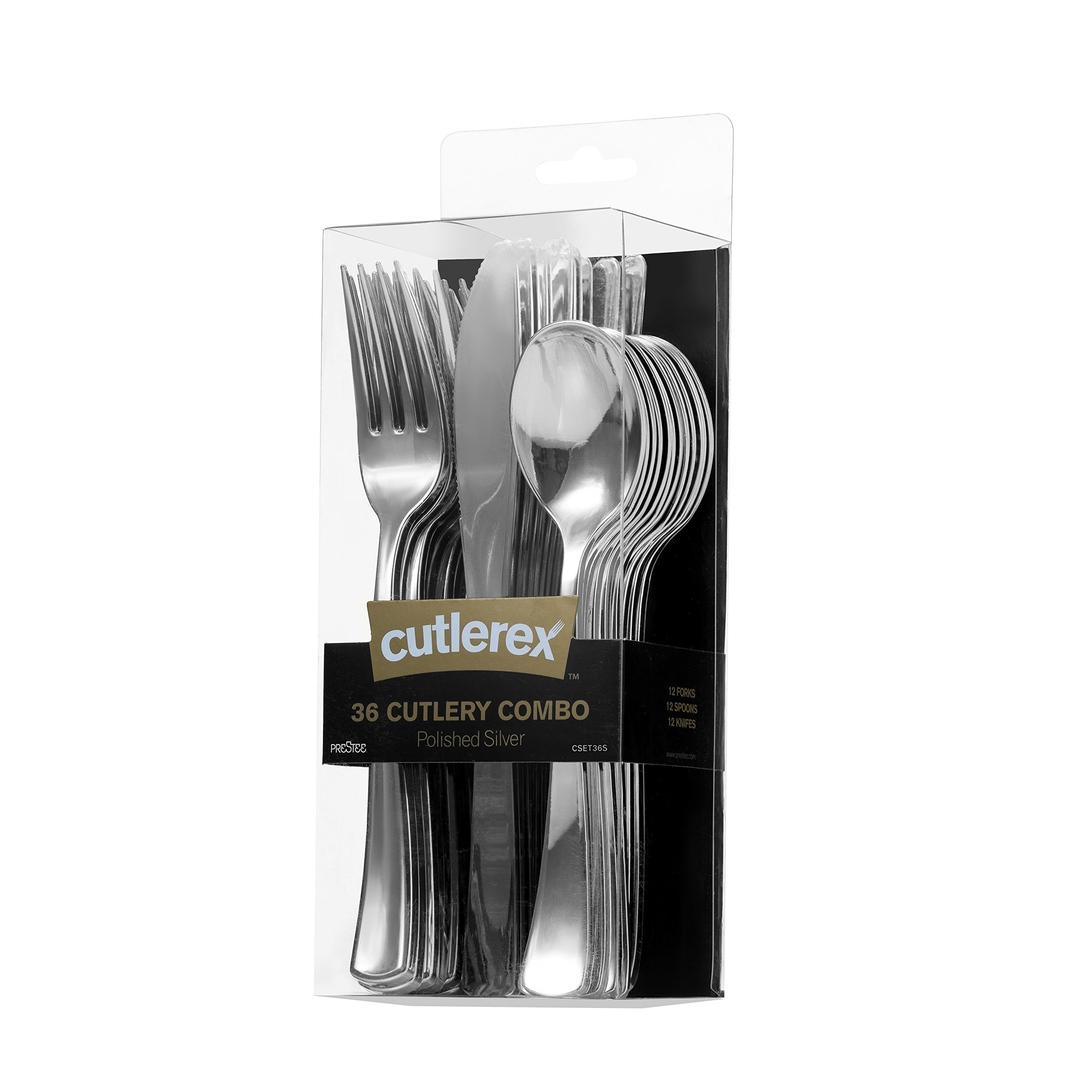 36 Plastic Silverware Set | Silver Plastic Cutlery Set | Disposable Silverware Set | 12 Plastic Forks, 12 Plastic Spoons, 12 Plastic Knives | Heavy Duty Disposable Flatware Plastic Utensils Set