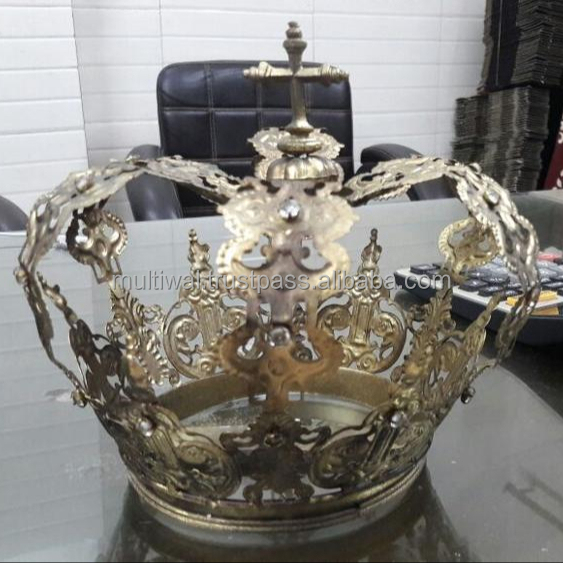 Madonna Vacanza tiara pasqua pageant crown, FrenchAntique Royal Crown Decorazione, casa Vintage metallo corone