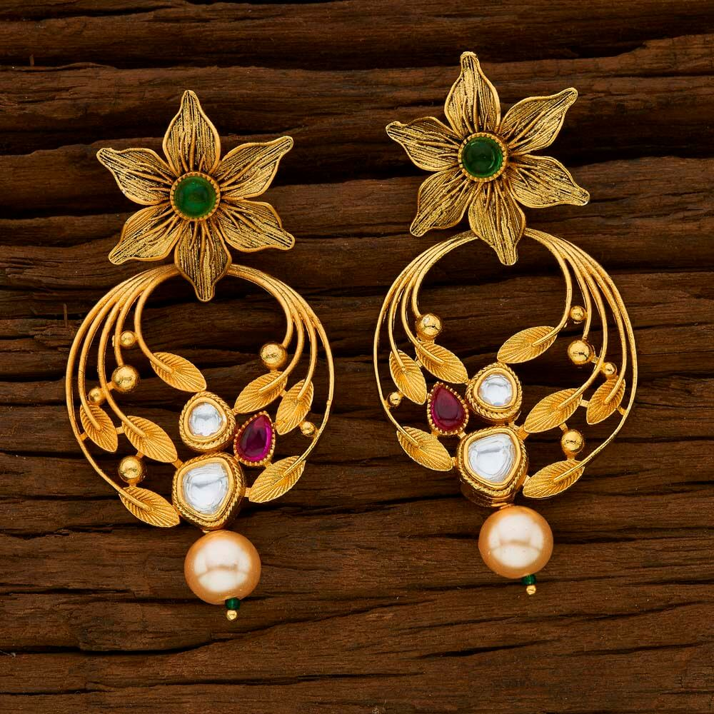Gold Plated Classic Earrings Rubygreen - 15239