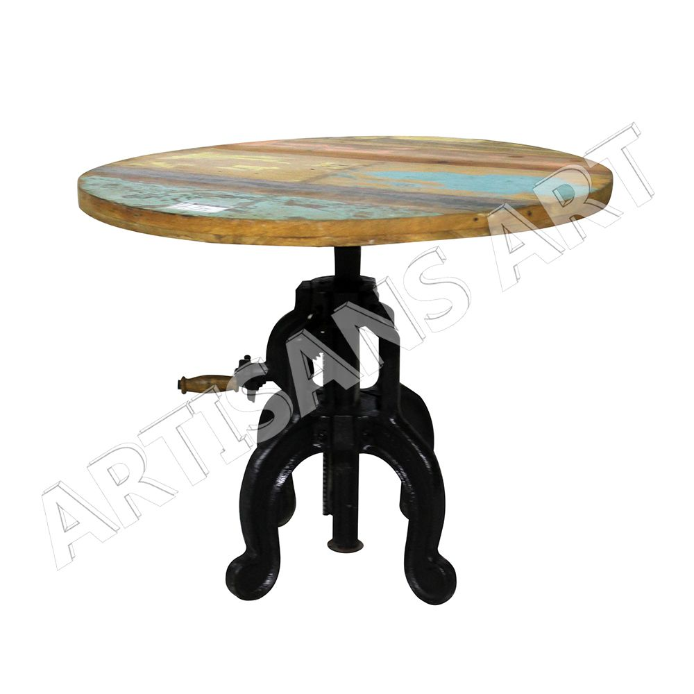 Industrial vintage cast iron crank restaurant tablecafe table industrial vintage cast iron crank restaurant table cafe table wrought iron table geotapseo Image collections