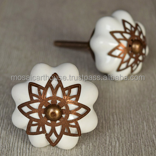 India Ceramic Hand painted Melon Knobs Glass Door Knob