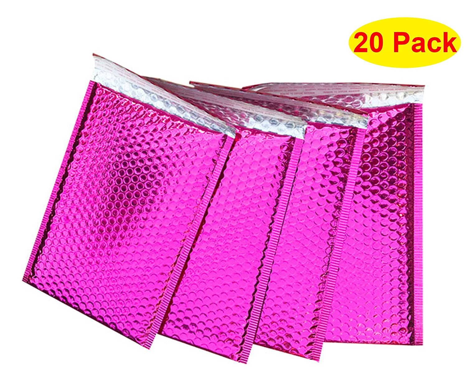 """HOSL 30 Pack Metallic Padded Bubble Mailers 7.5""""(W) x 10.24""""(L)+1.6""""/18cm x 26cm+4cm(outer) Rosy"""