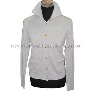 Knitted Coat Knitwear Casual Style with Metal Buttons Fashion designs with Polo neck and metal buttons