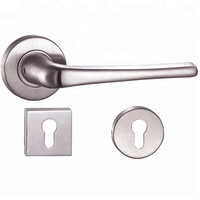 euro 304 stainless steel door locks lever handle sets luxury interior screw push pull heat resistant cover modern european style
