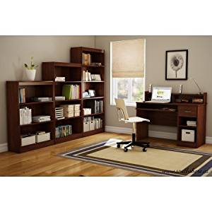 Wide 5 Shelves Bookcase in Multiple Finishes, Wide Bookcase with 5 Shelves for Extra Storage Saving, Home Bookcase, Living room Bookcase, Wide Bookcase with 5 shelves, BONUS e-book (Cherry)