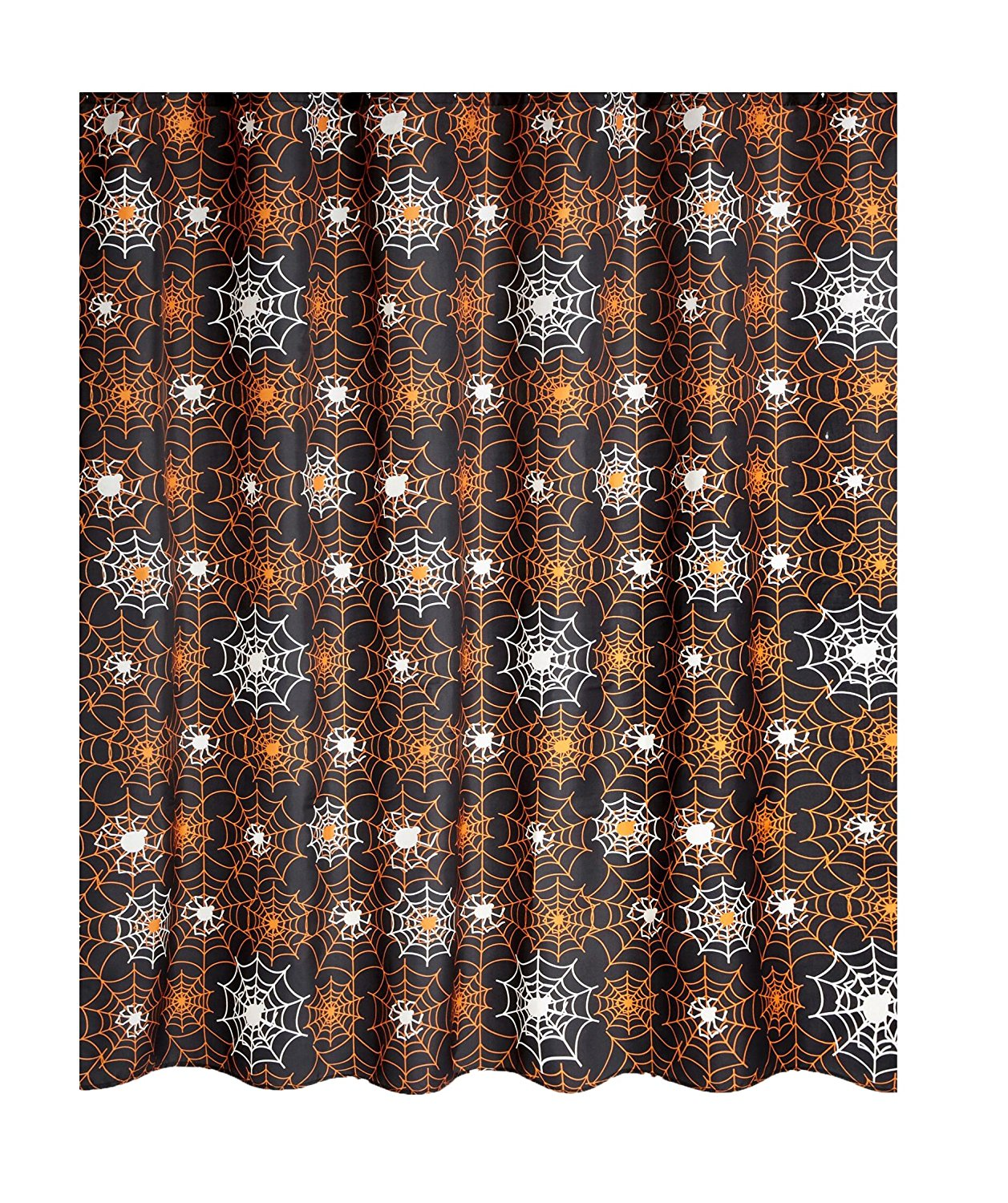 Get Quotations Famous Home Fashions Glow In The Dark Halloween Shower Curtain Spider Web Black And Orange