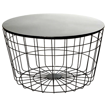 Designer Metal Wire Round Coffee Table With Black Mirror Top Modern Nesting Tables Gl 30x30