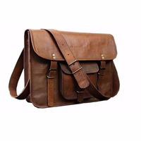 Unisex Real Leather Messenger Bag for Laptop Briefcase Satchel