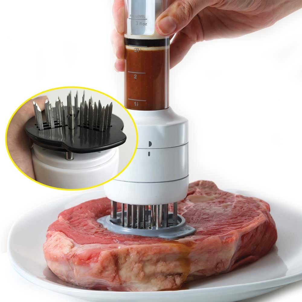 """2-Pack Onion Fork Holder 15 Blades Durable Stainless Steel Needle Professional Kitchen Cooking Tool 4.4/"""" by 3.1/""""Best For Tenderizing,BBQ,Marinade /& Flavor Maximizer Meat Tenderizer Tool"""