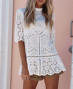 wholesale short sleeve paneled cut-out female shirt with lace insert, white cami tops