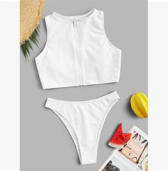 Ribbed Zipper-up Top With High Cut Two Piece Swim