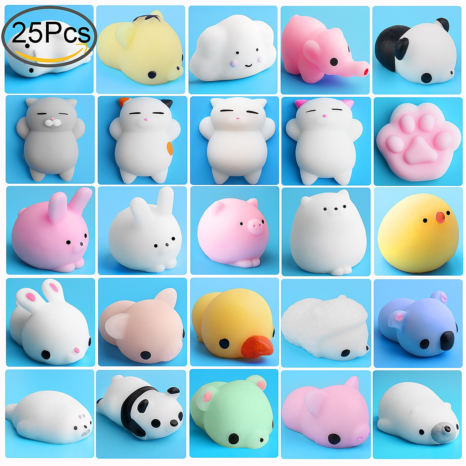 Mini Squishies Animals, Outee 25 Pcs Animal Toys Stress Relief Cat Squishy Stress Relief Animal Mochi Cat Squishy Squeeze Mini Squishies Seal Rabbit Chicken Duckling Elephant Sheep Cat, Random color