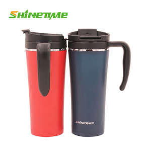 ShineTime Coffee/Beer/Beverage Mug with Lid Stainless Steel Mug Cup with Heat-resistant Handle Travel Mug