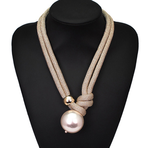 Big Imitation Pearl Pendant Necklaces Women Handmade Rope Adjustable Statement Chokers Necklaces Long Fashion Jewelry