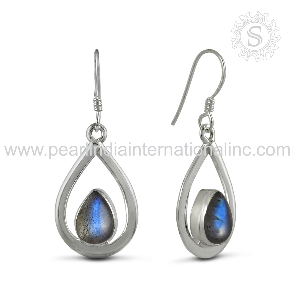Shining blue labradorite gemstone earrings handmade craft jewelry 925 sterling silver earring manufacturer