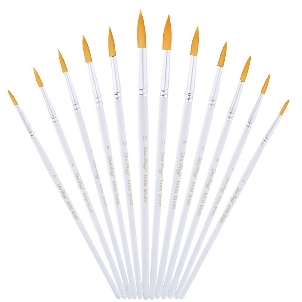 Round Pointed Paint Brush, CBTONE 12pcs Nylon Hair Artist Paint Brushes Set for Watercolor, Oil, Acrylic, Crafts, Rock, Face Painting and Gouache - White
