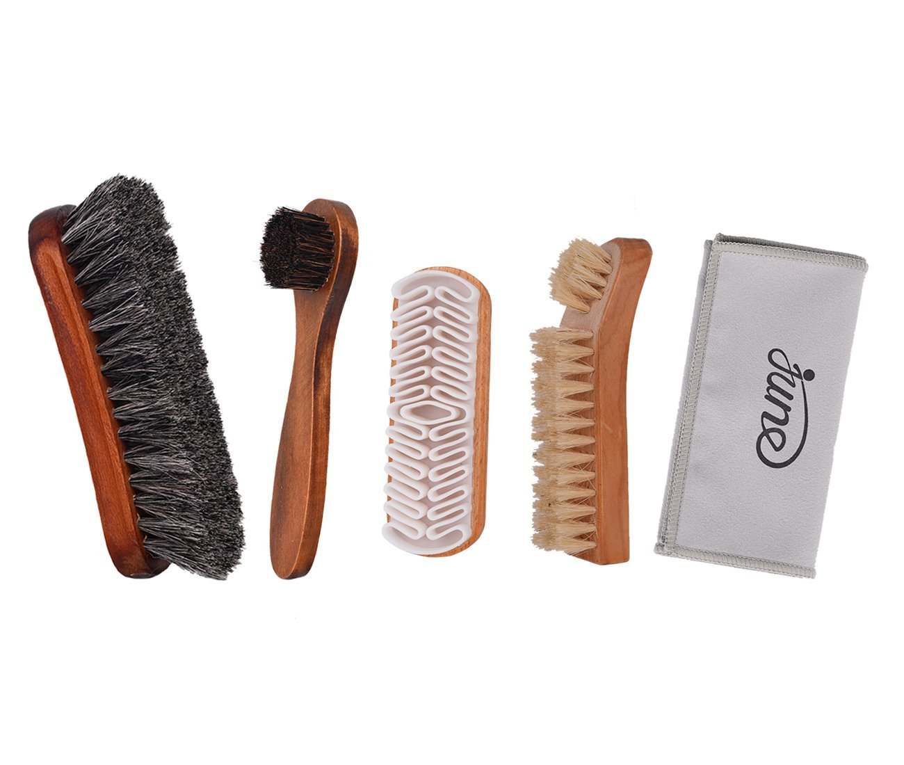 31aca51b4e Get Quotations · Shoe Shine Brush Kit 4 in 1 with Soft Horsehair Bristle  Brush