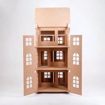 doll house from MDF Three-storey with doors