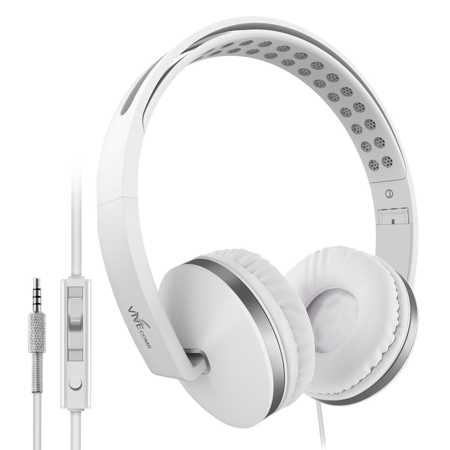 Foldable Headphones with Microphone, Vive Comb Stereo Lightweight Adjustable PC Headset Wired Headphones with Volume Control for Tablet, Smartphones, Video Game, Laptop-White