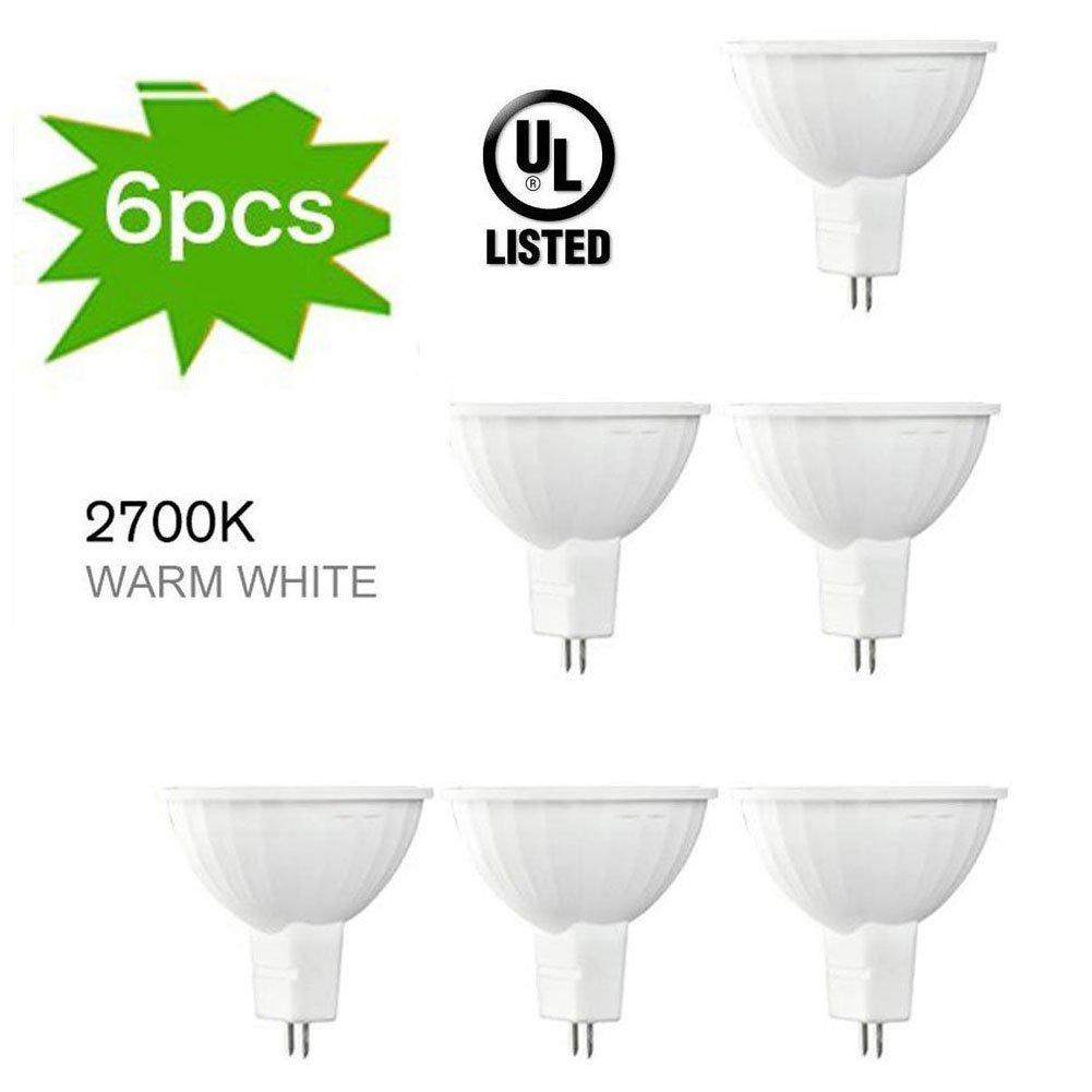 H+LUX 4W MR16 LED Bulbs with GU5.3 Bi-Pin Base,35W Halogen Bulbs Equivalent,12V,300LM,2700K Warm White for LED Spotlight,Accent Lighting,Recessed Lighting,Track Lighting,Landscape Lighting (Pack of 6)