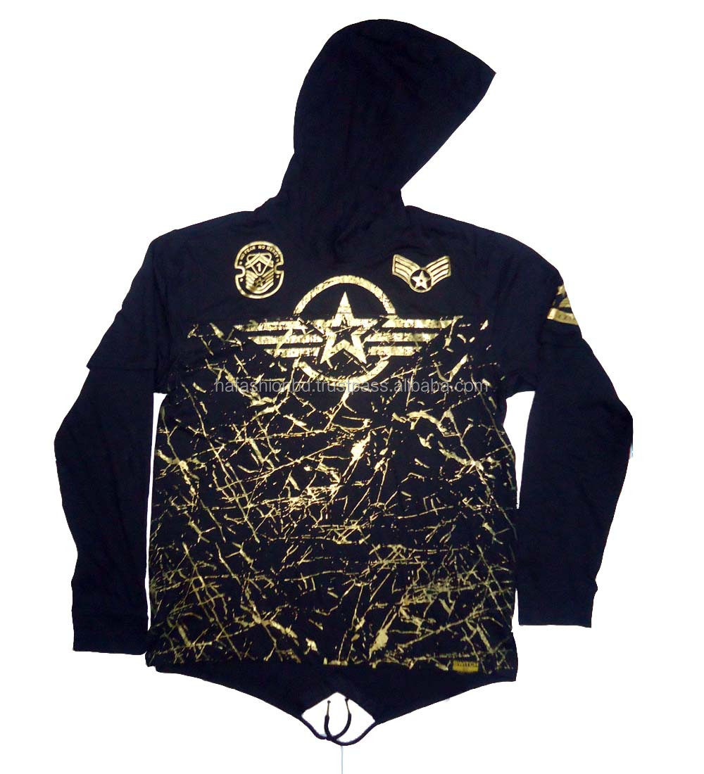 High Quality New design foil printed cotton terry hoodie men's sweatshirt