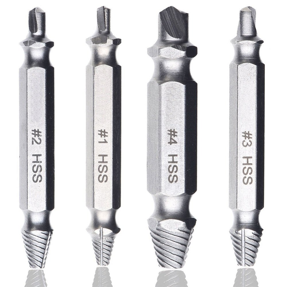 Damaged Screw Remover and Bolt Extractor Kit, Stripped, Damaged Screws Removers, Durable Alloy Steel Damaged Screw Extractor, 4 Different Sizes Screw Removers