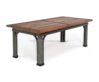 Industrial Reclaimed Wood Dining Table With Metal Legs