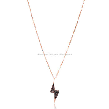 Rose Gold Plated Flash Sign Design Pendant Wholesale 925 Sterling Silver Jewelry Buy Flash Sign Design Silver Necklace Jewellery 925 Sterling Silver Jewelry For Women Black Zircon Stone Silver Pendant Product On Alibaba Com