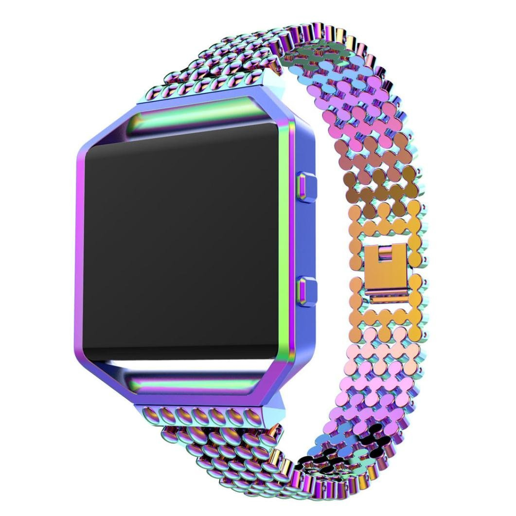 For Fitbit Blaze Band with Metal Frame, Gotd Replacement Stainless Steel Bands Watch Band Strap for Fitbit Blaze (Colorful)