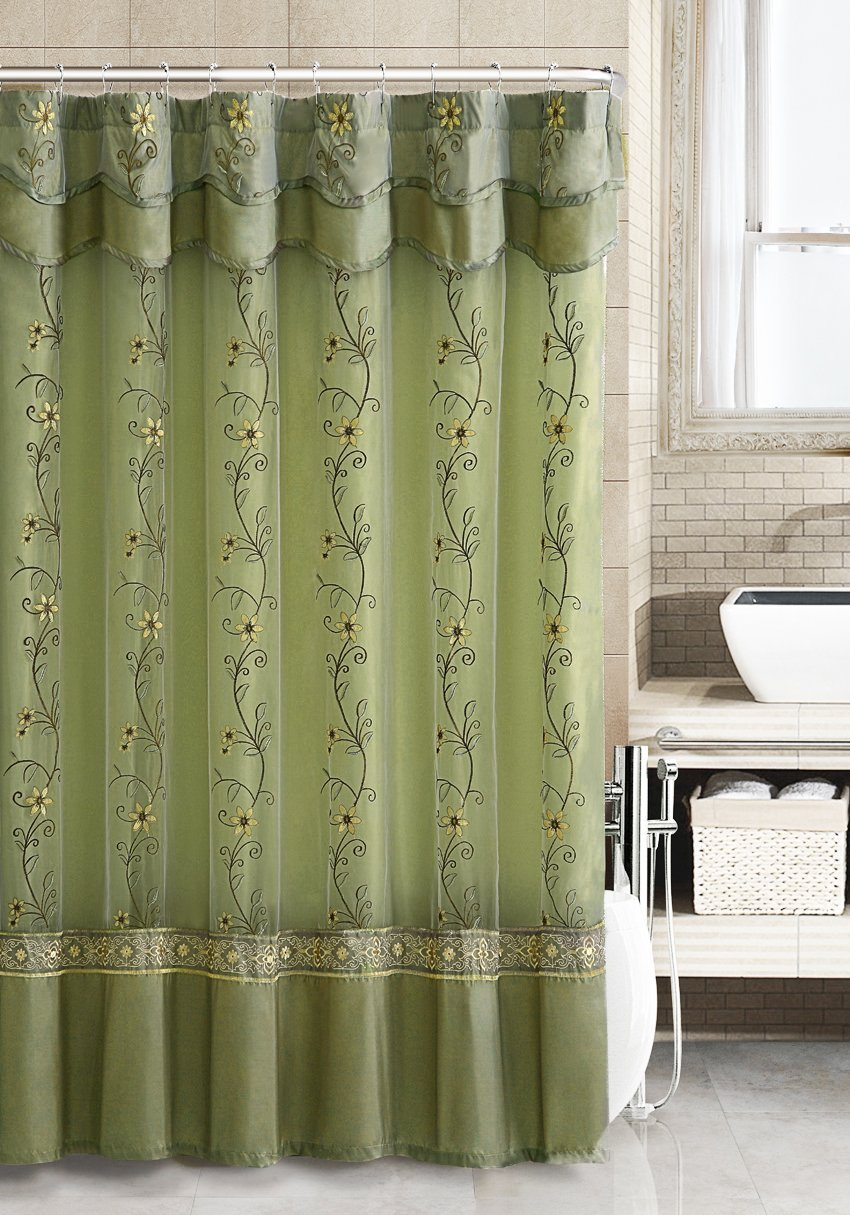 Two Layered Embroidered Fabric Shower Curtain With Attached Valance Off White And Gold