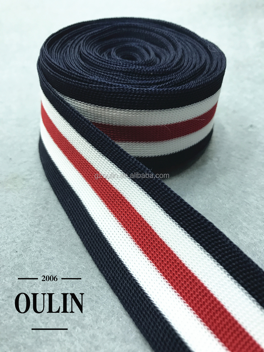 Customized design ribbon elastic polyester ribbon color can be chosen used on garments